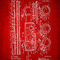 1909 Flute Patent In Red by Nikki Marie Smith