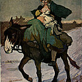 1913 Jugend Art Print Woman Riding Dunkey Suckling Baby Hard Tim by Josef A Sailer