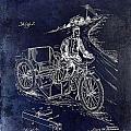 1913 Motorcycle Side Car Patent Blue by Jon Neidert
