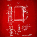 1914 Beer Stein Patent Artwork - Red by Nikki Marie Smith