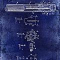 1915 Billiard Cue Patent Drawing Blue by Jon Neidert