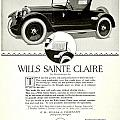 1921 - Wills Sainte Claire Automobile Roadster Advertisement by John Madison