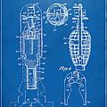 1921 Explosive Missle Patent Minimal Blueprint by Nikki Marie Smith