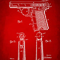 1921 Searle Pistol Patent Artwork - Red by Nikki Marie Smith