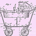 1922 Baby Carriage Patent Art Pink by Lesa Fine