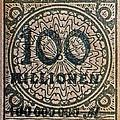 1923 100 Million Mark German Stamp by Bill Owen