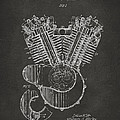 1923 Harley Engine Patent Art - Gray by Nikki Marie Smith