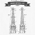 1927 Oil Well Rig Patent Drawing - Retro Gray by Aged Pixel