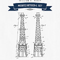 1927 Oil Well Rig Patent Drawing - Retro Navy Blue by Aged Pixel