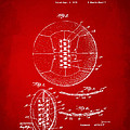 1928 Soccer Ball Lacing Patent Artwork - Red by Nikki Marie Smith