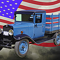 1929 Blue Chevy Truck And American Flag by Keith Webber Jr