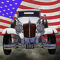 1929 Cord 6-29 Cabriolet Antique Car With American Flag by Keith Webber Jr
