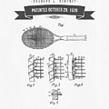 1929 Tennis Racket Patent Drawing - Retro Gray by Aged Pixel