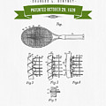 1929 Tennis Racket Patent Drawing - Retro Green by Aged Pixel