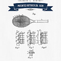 1929 Tennis Racket Patent Drawing - Retro Navy Blue by Aged Pixel