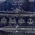 1930 Ship's Hull Patent Drawing Blue by Jon Neidert