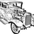 1930 Model A Custom Hot Rod Illustration by Keith Webber Jr