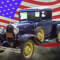 1930 Model A Ford Pickup Truck And American Flag by Keith Webber Jr