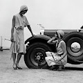 1930s Two Women Confront An Automobile by Vintage Images