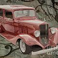 1933 Chevrolet Chevy Sedan Classic Car Painting In Color  3160.0 by M K Miller