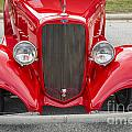 1933 Chevrolet Chevy Sedan Front End Of Classic Car In Color Red by M K Miller