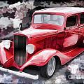 1933 Chevrolet Chevy Sedan Painting Of Classic Car In Color Red  by M K Miller