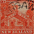 1935 Carved Maori House New Zealand Stamp by Bill Owen