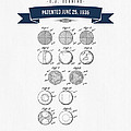 1935 India Rubber Ball Patent Drawing - Retro Navy Blue by Aged Pixel