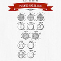 1935 India Rubber Ball Patent Drawing - Retro Red by Aged Pixel