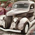 1936 Ford Classic Car Painting Or Automobile In Color  3122.02 by M K Miller