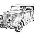 1936 Ford Phaeton Convertible Illustration  by Keith Webber Jr