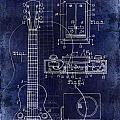 1937 Gibson Electric Guitar Patent Drawing Blue by Jon Neidert