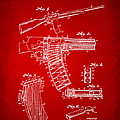1937 Police Remington Model 8 Magazine Patent Artwork - Red by Nikki Marie Smith