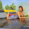 1940s Style Pin-up Girl With Parasol by Christian Kieffer