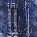 1941 Gibson Electric Guitar Patent Drawing Blue by Jon Neidert