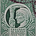 1943 Freedom Of Speech And Religion Stamp by Bill Owen