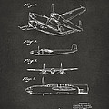 1944 Howard Hughes Airplane Patent Artwork 2 - Gray by Nikki Marie Smith