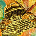 1948 Chev Gold Tie Dye Tilt Car Art by Lesa Fine