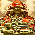 1948 Chev Red Gold Metal Art by Lesa Fine