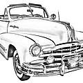 1948 Pontiac Silver Streak Convertible Illustration by Keith Webber Jr