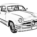 1950  Ford Custom Antique Car Illustration by Keith Webber Jr