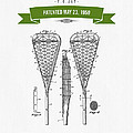 1950 Lacrosse Stick Patent Drawing - Retro Green by Aged Pixel