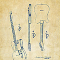 1951 Fender Electric Guitar Patent Artwork - Vintage by Nikki Marie Smith