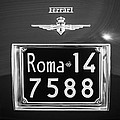 1951 Ferrari 212 Export Berlinetta Rear Emblem - License Plate -0775bw by Jill Reger