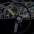 1951 Mg Td Dashboard_neon Car Art by Lesa Fine