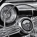 1953 Buick Super Dashboard And Steering Wheel Bw by Jerry Fornarotto