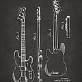 1953 Fender Bass Guitar Patent Artwork - Gray by Nikki Marie Smith