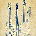 1953 Fender Bass Guitar Patent Artwork - Vintage by Nikki Marie Smith