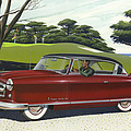 1953 Nash Rambler Car Americana Rustic Rural Country Auto Antique Painting Red Golf by Walt Curlee
