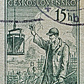 1954 Czechoslovakian Construction Worker Stamp by Bill Owen